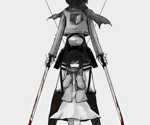 attack on titan, anime, and mikasa image