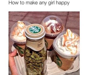 starbucks, weed, and happy image