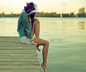girl, water, and hat image
