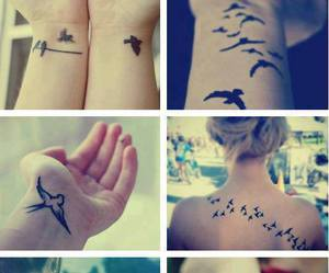 birds, tattoo, and fly image