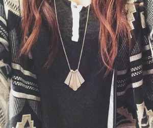 cardigan, hair, and necklace image