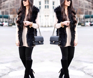 bag, boots, and fur image
