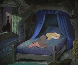 sleeping beauty, disney, and bed image