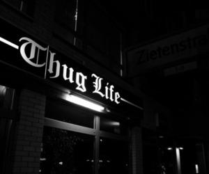 thug life, black and white, and tupac image