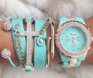 bracelet, watch, and blue image