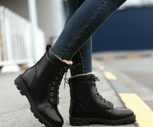 black, boots, and glossy image