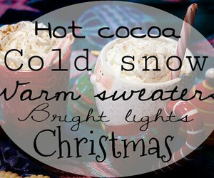 christmas, hot cocoa, and bright lights image