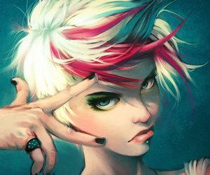 hair, highlights, and girl image