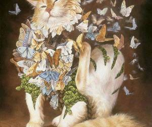 cat, butterfly, and art image