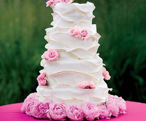 cake, pink, and flowers image