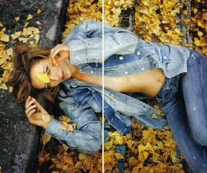 girl, leaves, and sexy image