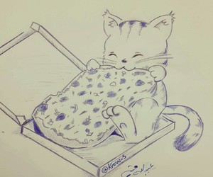 cat, kitten, and pizza image