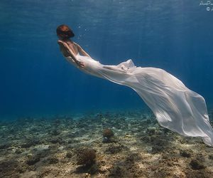 mermaid, dress, and ocean image