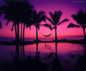 pink, beach, and sunset image