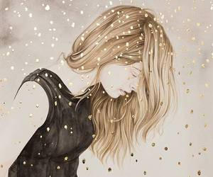 art, glitter, and blonde image