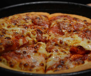 cheese, pizza, and pizza hut image
