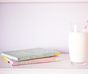 books, milk, and beautiful image