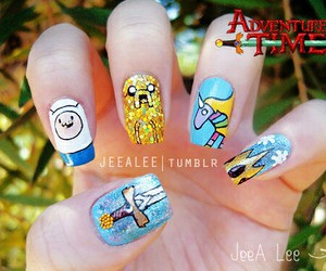 adventure time, nails, and JAKe image