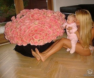 baby, rose, and girl image