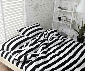 white, bedroom, and black image