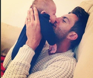 dad, son, and kiss image