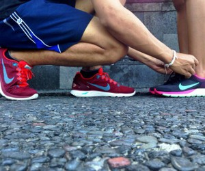 couple, fitness, and shoes image