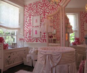 crib, girl, and pink image