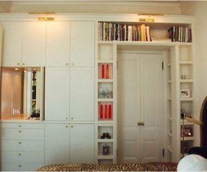 books, living room, and shelves image