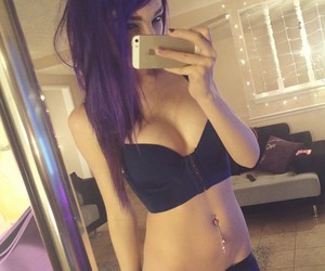 colored hair, purple, and girl image
