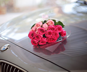 car, flowers, and bmw image