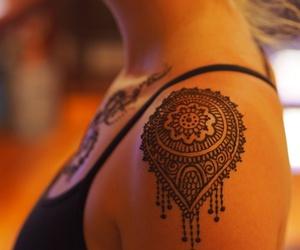 girl tattoo, tattoo, and mandala tattoo image