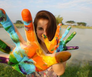 girl, hands, and colorful image