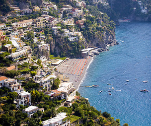 italy, ocean, and positano image