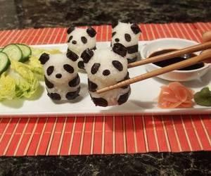food, panda, and sushi image
