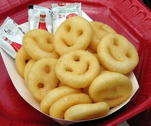 food, smile, and fries image