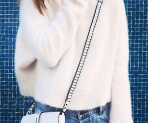 denim shorts and fuzzy sweater image