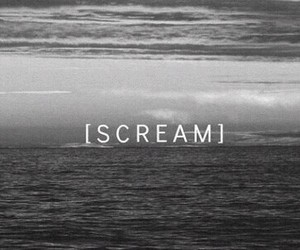 scream, sad, and black and white image
