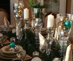 centerpieces, china, and christmas image
