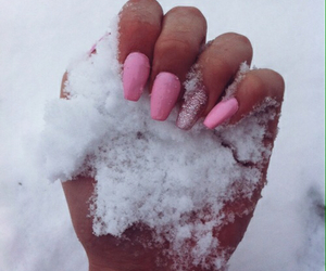 nails, pink, and snow image