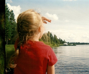 girl, trees, and kid image
