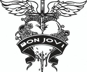 black and white, Logo, and bon jovi image