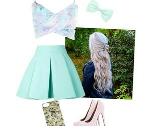 bow, curly hair, and heels image