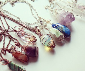 crystal, healing, and necklace image