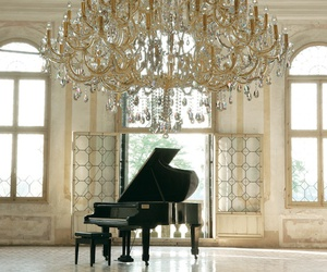 piano, luxury, and chandelier image
