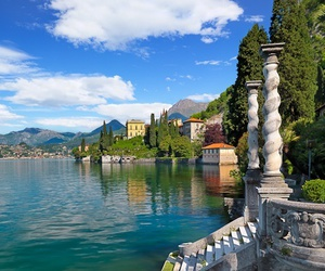 italy, lake, and stairs image