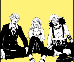 one piece, nami, and usopp image