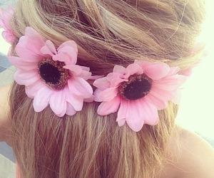 blonde, daisy, and bun image