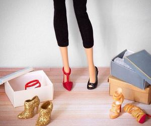 barbie, gold, and shoes image
