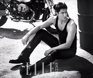 black and white, Daniel Henney, and Elle image