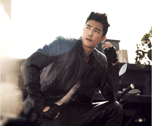 Daniel Henney, Elle, and leather jacket image